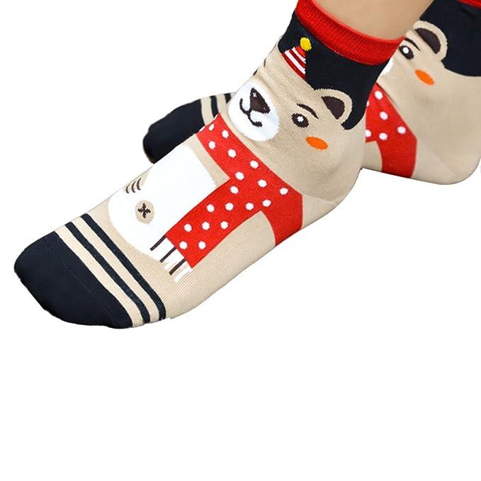 Womens Christmas Socks, Buedvo Ladies Value Winter Warmer Leg Cotton Stockings (22.5cm-24.5cm/8.66