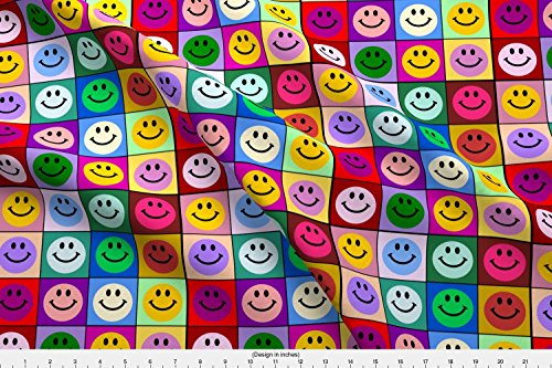 Smiley Face Fabric - Spoonflower Smiley Fabric Colorful Smiley Face Squares by Inspirationz Printed on Basic Cotton Ultra Fabric by the Yard