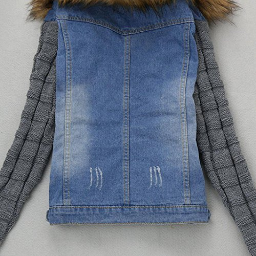Women Jeans Retro Denim Down Outwear Jeans Blue Coat Jacket Yukong Knit Jacket Sleeve Collar Denim Turn 5fwqtWI