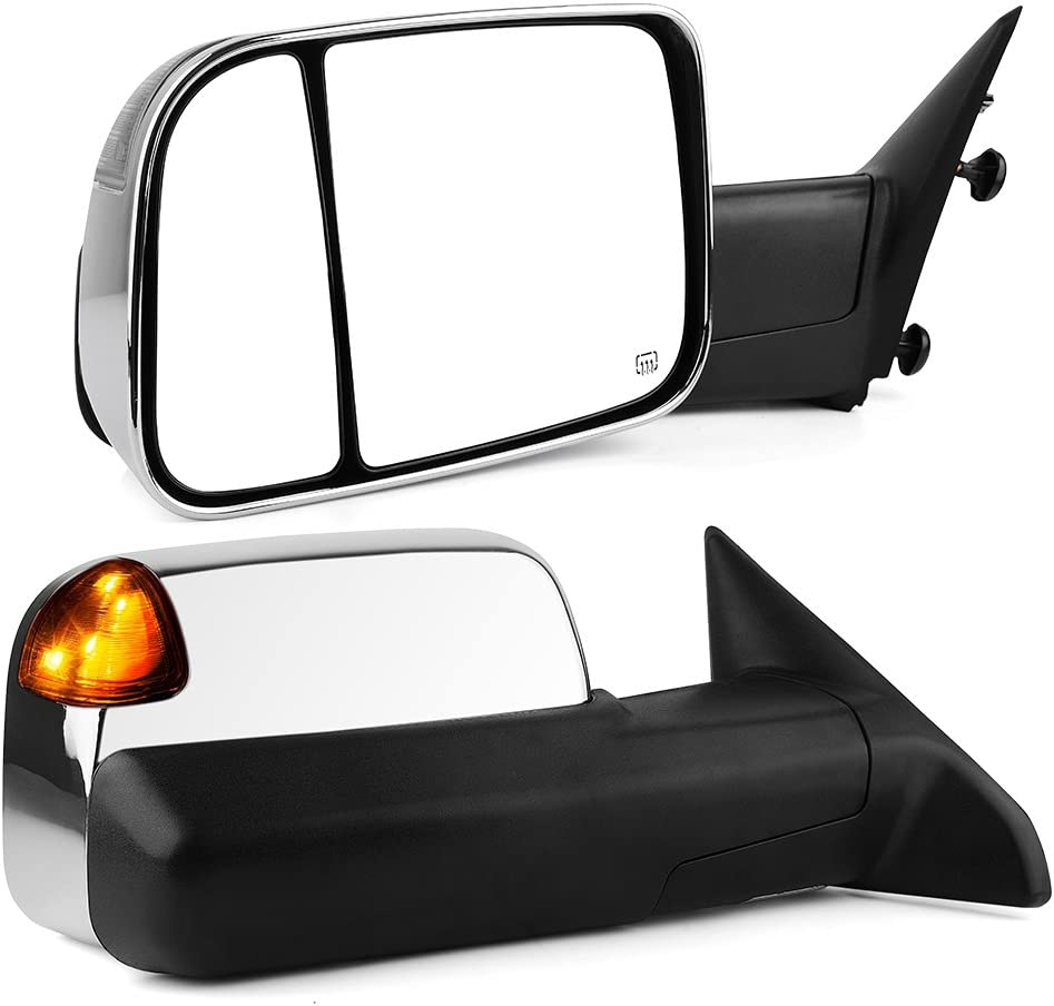 YITAMOTOR Towing Mirrors Compatible with Dodge Ram Ram 2010-2017 2500 3500 Chrome Power Heated LED Turn Signal Light Puddle Lamp Replacement for Dodge Ram 2009-2017 1500