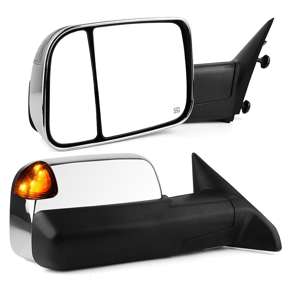 Towing Mirrors Compatible for Dodge Ram, YITAMOTOR Chrome Power Heated LED Turn Signal Light Puddle Lamp, for 2009-2017 Dodge Ram 1500, 2010-2017 Ram 2500 3500 by YITAMOTOR