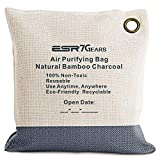ESR7Gears Natural Bamboo Charcoal Air Purifying Bag- Eco-Friendly, Moisture Absorbent Deodorizer for Homes, Cars, Closets, Bathrooms and Pet Areas. (210g Grey, One-Pack)