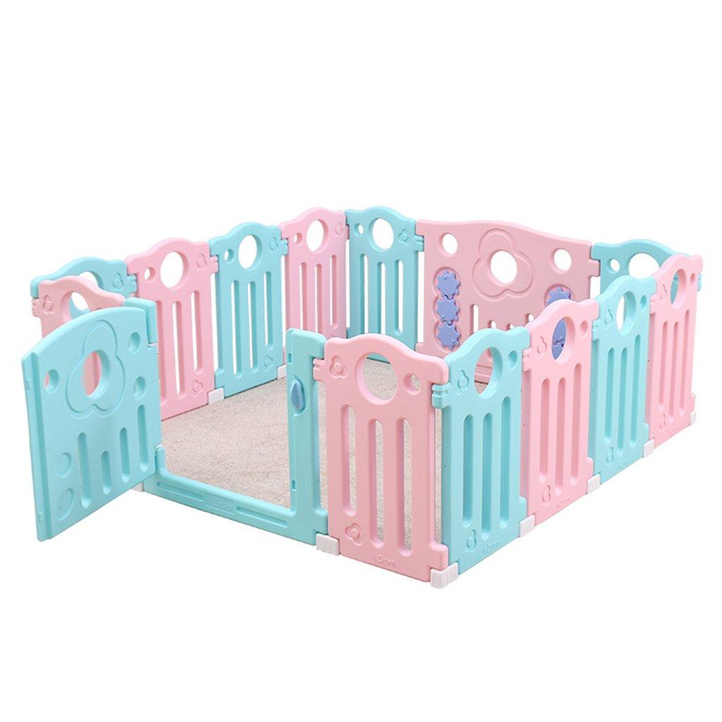 Playpens - 赤ちゃんの幼児のゲームのフェンスの家の幼児の室内の安全クロールマット赤ちゃんのおもちゃプラスチック保護フェンス (Color : Pink, Size : 259 * 186 * 65cm) 259*186*65cm Pink B07HH2HKK4
