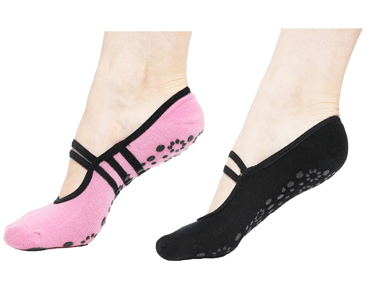 CBValley 2 Paar Rutschfeste Socken Yoga Pilates Socken Fitness/Tanz/Ballett Socken für Frauen Größe UK 2,5-7 / EU 35-40 5-7 / EU 35-40 (Schwarz+Rosa)