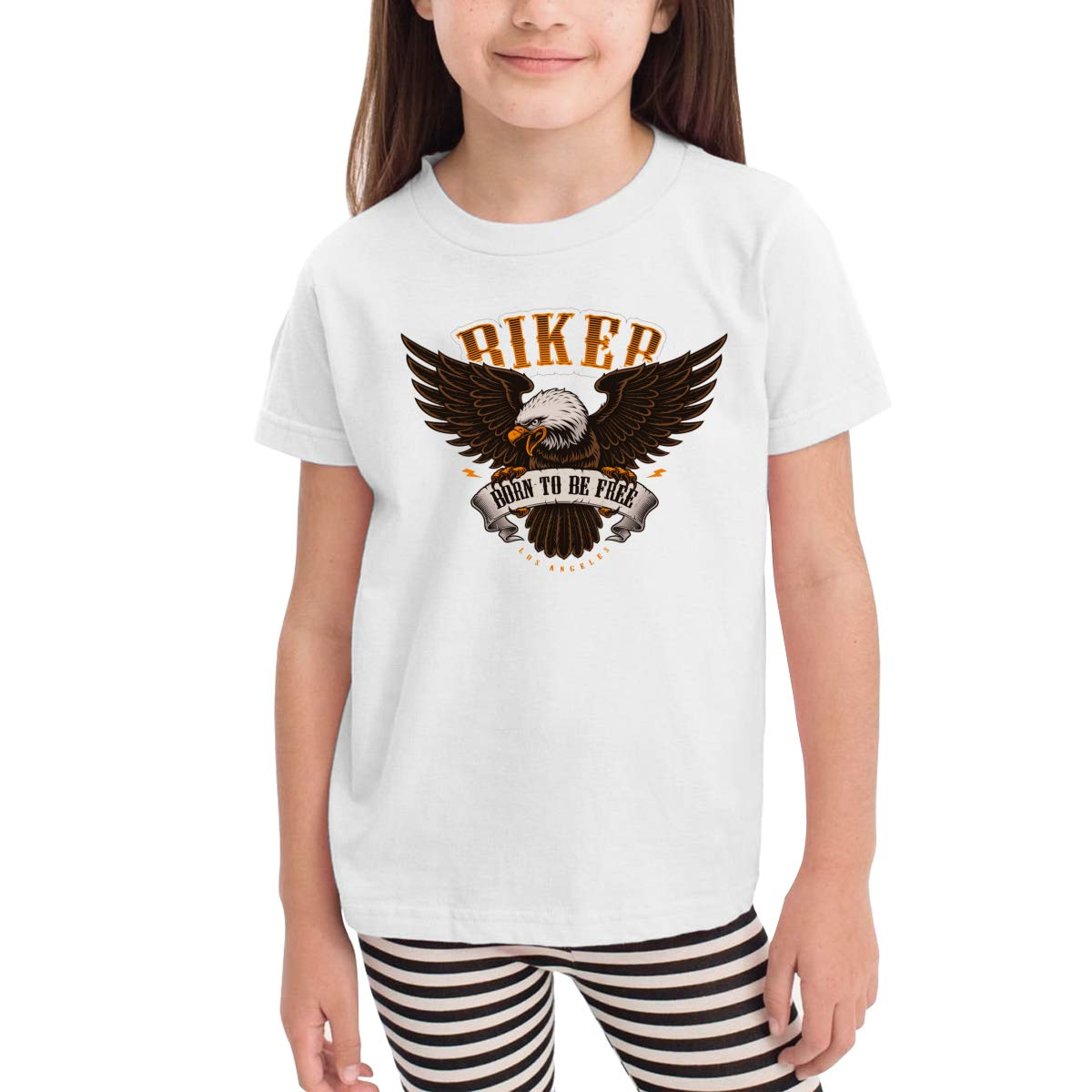 Biker Born to Be Free Toddler Boys Girls Short Sleeve T Shirt Kids Summer Top Tee 100/% Cotton Clothes 2-6 T