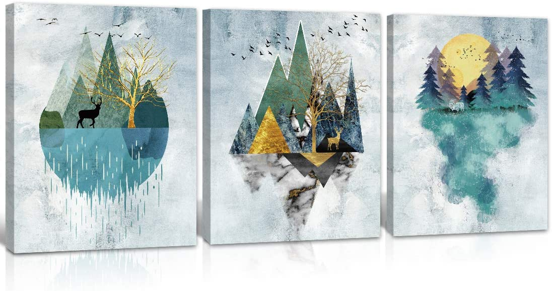 Abstract Wall Art Mountain Watercolor like Painting Wall Decor Canvas Wooden Framed. 3 pieces set, each panel size 16