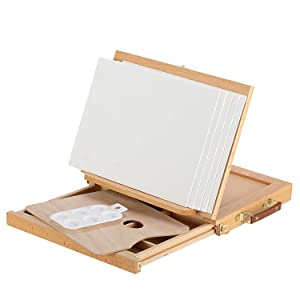 Magicfly Wood Table Top Easel for Painting, Adjustable Desk Easel with Storage Drawer,5 Canvas and 1 Paint Palette,Beechwood - Portable Artist Easel Top Board, Wooden Drawing Board Easel for Canvas