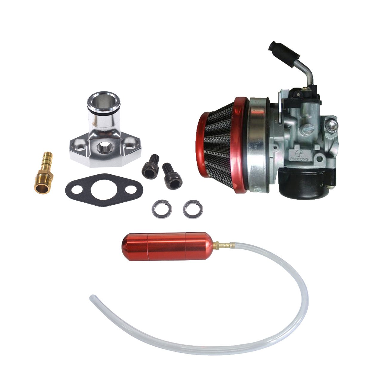 JRL Carburetor&Red Gas Power Boost Bottle For 66cc 80cc Engine Motorized Bicycle