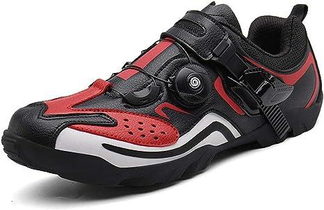 Zapatillas De Bicicleta De Carretera, Hombre Mujer Calzado De Bicicleta Calzado con Sistema De Bloqueo Transpirable para Montaña Y Carretera Accesorios para Ciclismo,Rojo,42 EU: Amazon.es: Deportes y aire libre