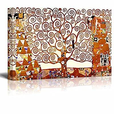 Canvas Wall Art Stretched Canvas Print - Famous Art Reproduction Tree of Life by Gustav Klimt | Giclee Printing Ready to Hang - 24