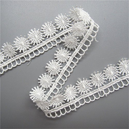 (5 Yard Eyelash Eyelet Motifs Picot Scallop Lace Trim Ribbon 2.2 cm Width Vintage Style White Edging Trimmings Fabric Embroidered Applique Sewing Craft Wedding Bridal Dress DIY Party Clothes Embroidery)