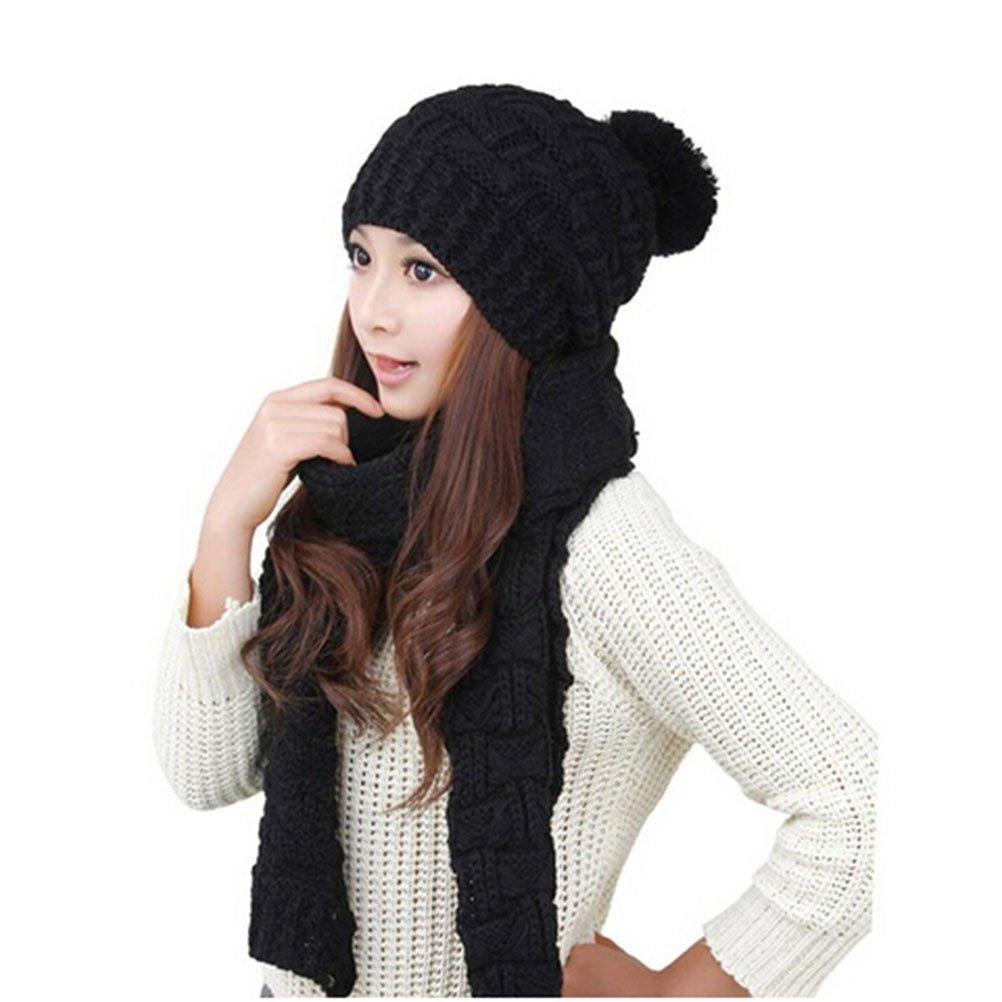 C/álido Moda Sombreros Beanie Scarf Set de Punto para Mujer Chicas TININNA Gorras con Bufanda Mujer Invierno