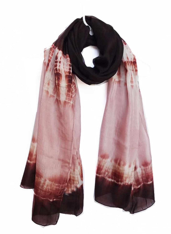"100% Habotai Silk Tie Dye Crinkled Stole 42"" x 72"" - Ombre Smoke/Dusty Rose (Extra Wide)"