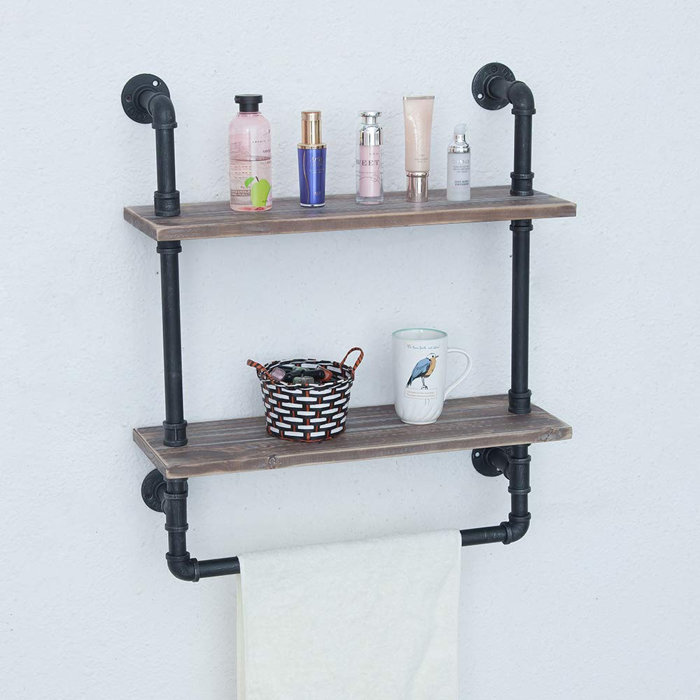 Industrial Bathroom Shelves Wall Mounted 2 Tiered,Rustic 24in Pipe Shelving Wood Shelf With Towel Bar,Black Farmhouse Towel Rack,Metal Floating Shelves Towel Holder,Iron Distressed Shelf Over Toilet by Industrial Furniture (Image #6)