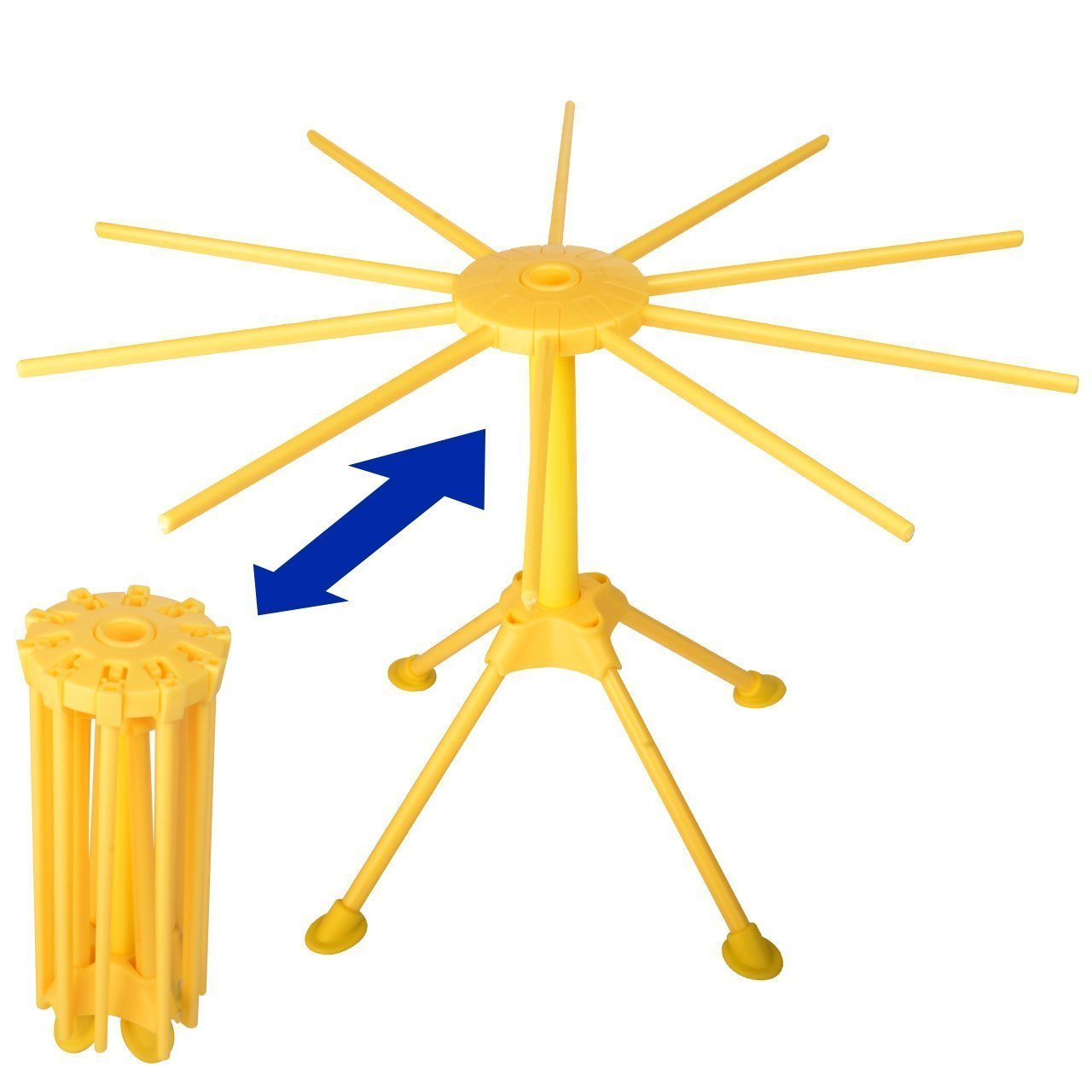 Homer Collapsible Pasta Drying Rack and Spaghetti Pasta Maker with 10 Arms Safe-Food Grade ABS Plastic Matrial Noodles Dryer Stand Holder (Yellow)