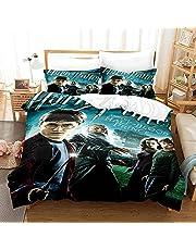 Gzjp 3 st sängkläder påslakanset, enkel/dubbel/king säng med örngott, påslakan med blixtlås, Harry Potter