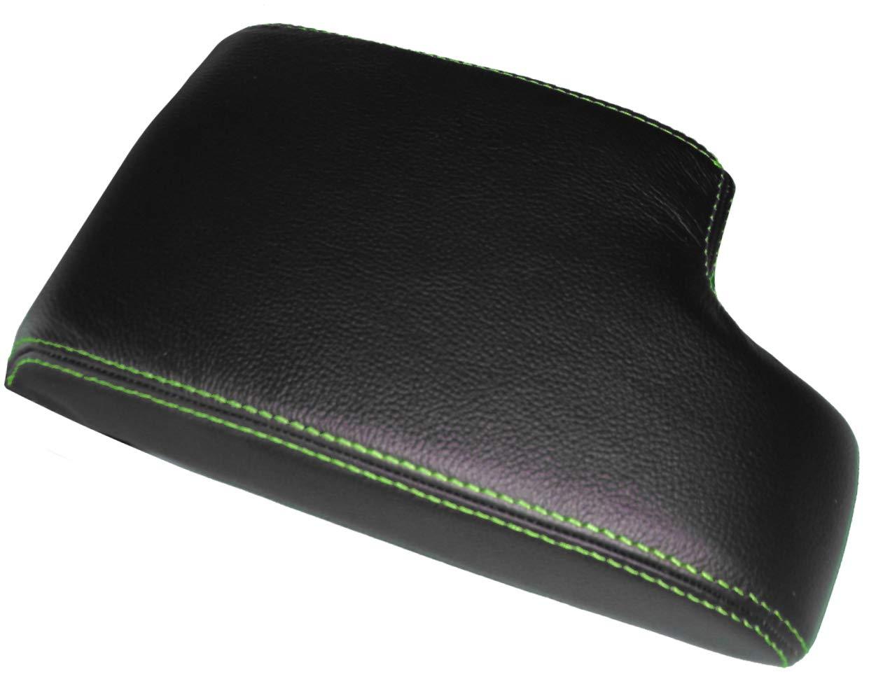 AERZETIX Cubierta de la tapicer/ía funda de apoyabrazos consola central de piel genuina con costuros de colores diferentes negro con costuras negro