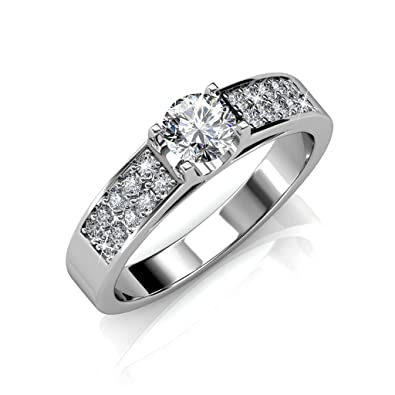 cate and chloe leah 18k white gold swarovski ring engagement ring