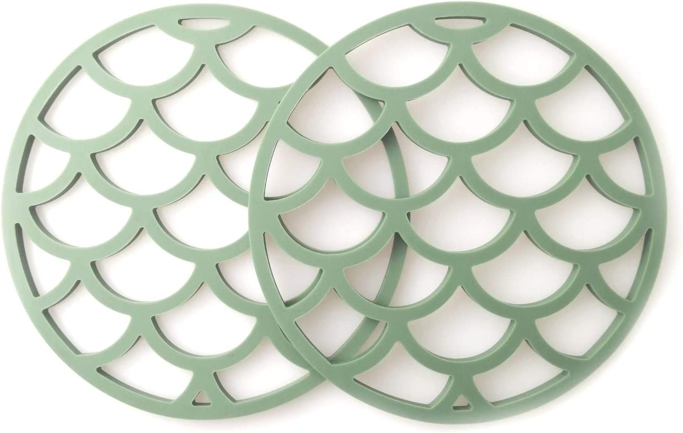 7 inches Blue Silicone Potholders Hot Pads Trivets 2 Pack