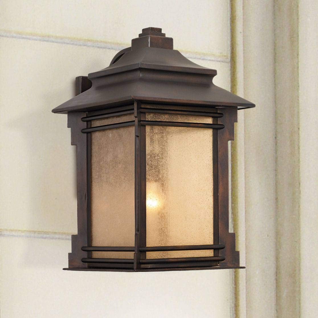 "Hickory Point Rustic Farmhouse Outdoor Wall Light Fixture Walnut Bronze Iron 16"" Cream Glass for Exterior Patio Porch House"