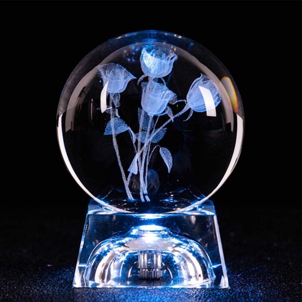YQHWLKJ Lámpara de mesa luminosa Decorativa para el hogar 3D Grabado con base Bola de cristal Artesanía Giratoria Luz de noche Adorno de regalo Esfera redonda