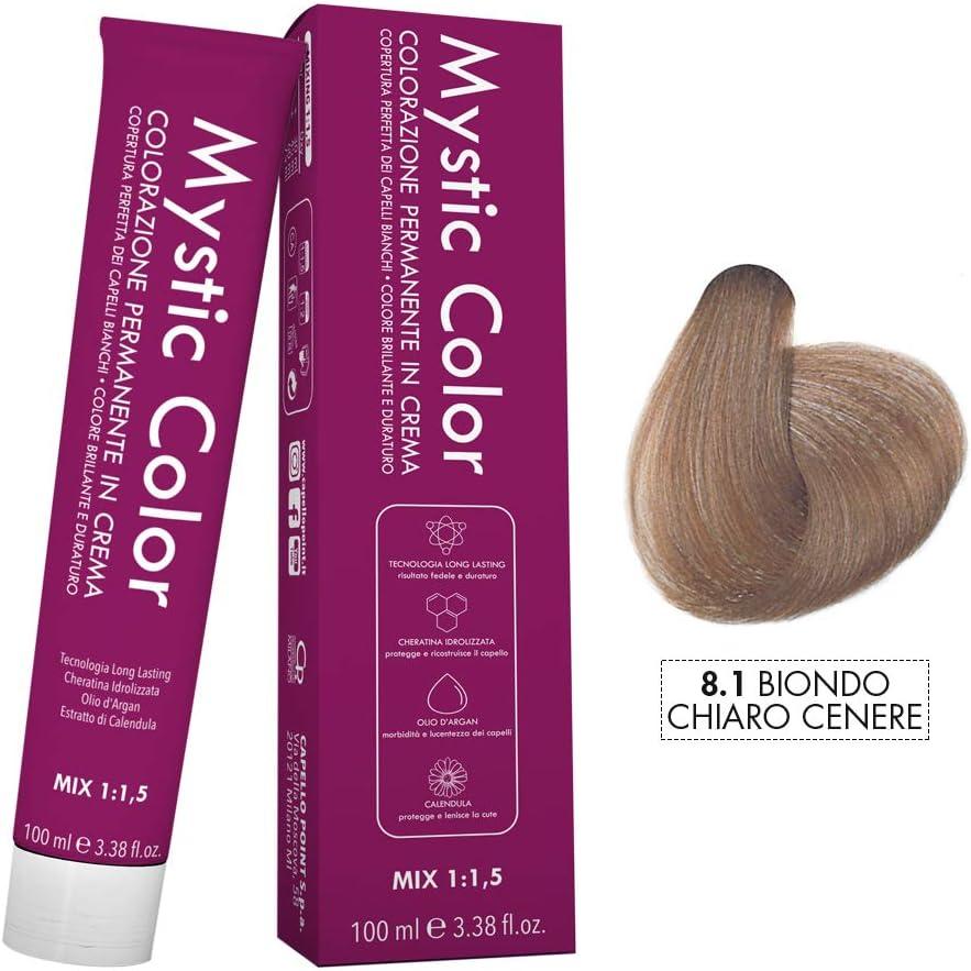 Mystic Color - Coloración Permanente en Crema con Aceite de Argán y Caléndula - Color Natural y Duradero - Tono 8.1 Rubio Ceniza Claro - 100 ml