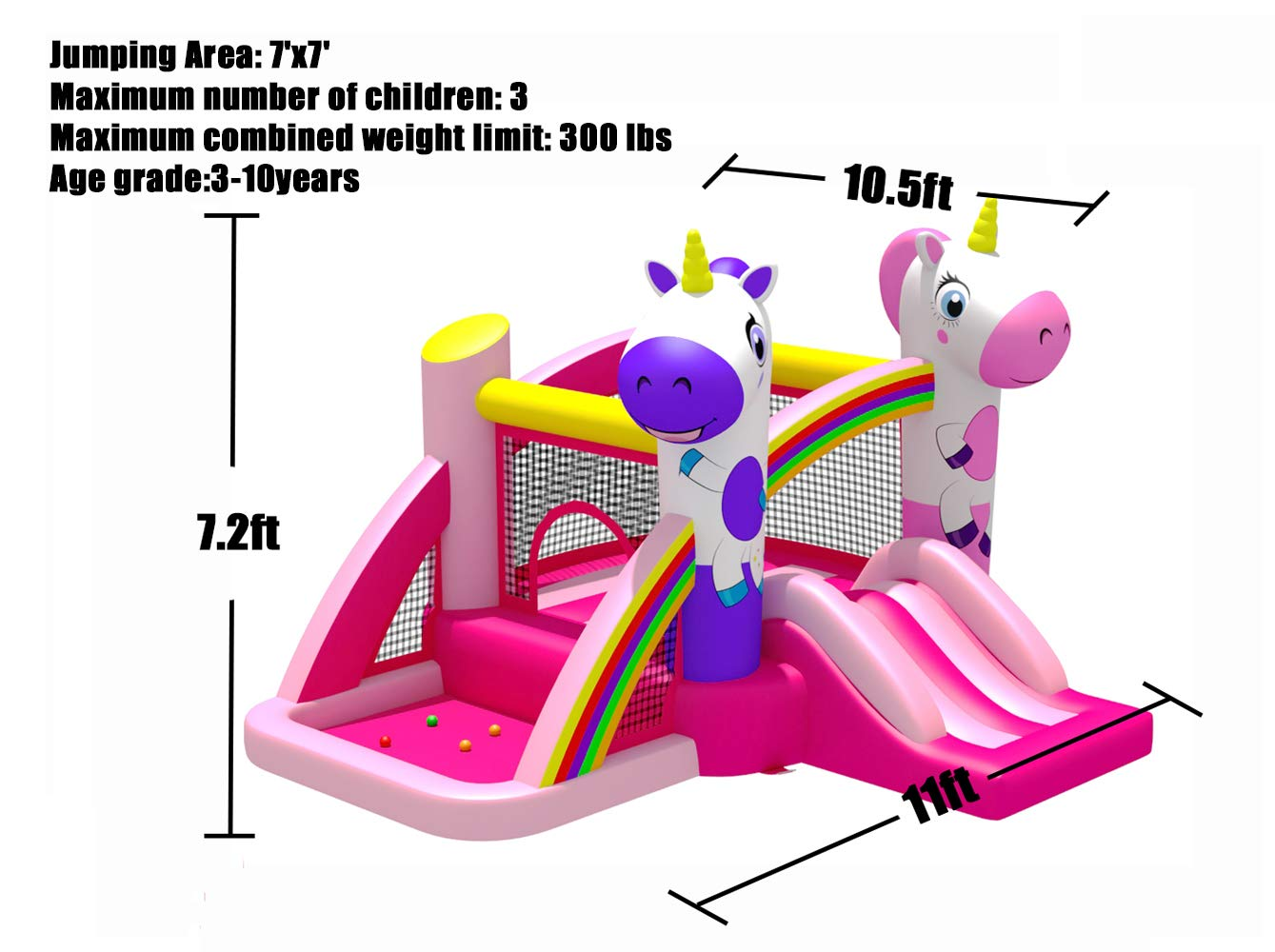 BESTPARTY Inflatable Bounce House with Slide for Princess Pink Unicorn Inflatable Bouncer House Jumper Houses by BESTPARTY (Image #6)