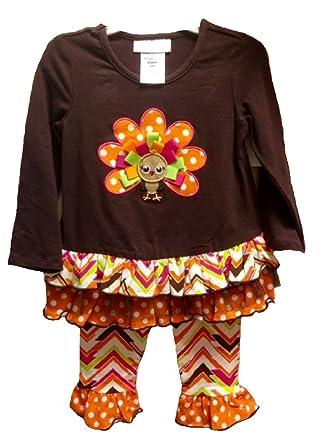 290851fbe9ab6 Bonnie Jean Baby Girl Thanksgiving Ribbon Turkey Leggings (12m-24m) (24  months