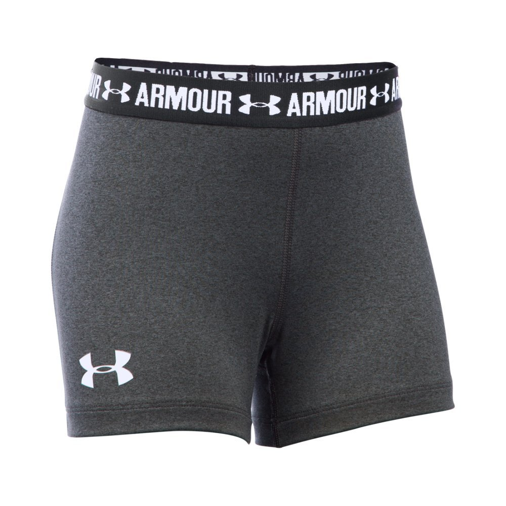 Under Armour Girls' HeatGear Armour 3'' Shorty, Carbon Heather /White, Youth X-Large by Under Armour