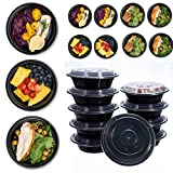 Gogil 10 Pack Round Plastic Food Storage Container With Lid Bento Box Meal Preparation Container Microwave Dishwasher Safe