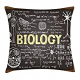 Ambesonne Educational Throw Pillow Cushion Cover, Black Chalkboard Biology Hand Written Symbols School Classroom, Decorative Square Accent Pillow Case, 16 X 16 Inches, Black Brown Pale Yellow