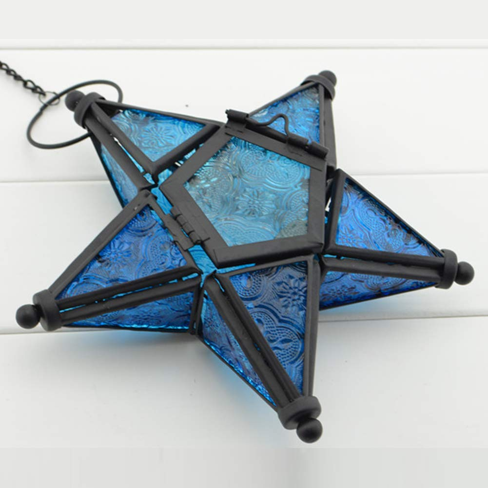 Ainstsk Glass Star Light Hanging Star Lantern Indoor//Outdoor Pendant Candle Holder Lamp Moroccan Style Colorful Glass Tealight Lantern Candle Tray Blue