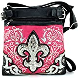 Rhinestone Fleur De Lis Messenger Bag Cross Body Purse Concealed Gun Pocket (Pink)