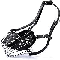 MyfatBOSS Dog Muzzle, Adjustable Wire Leather Basket Mask for Anti-Bite, Soft Dog Bark Muzzle for Medium/Large Size (M)