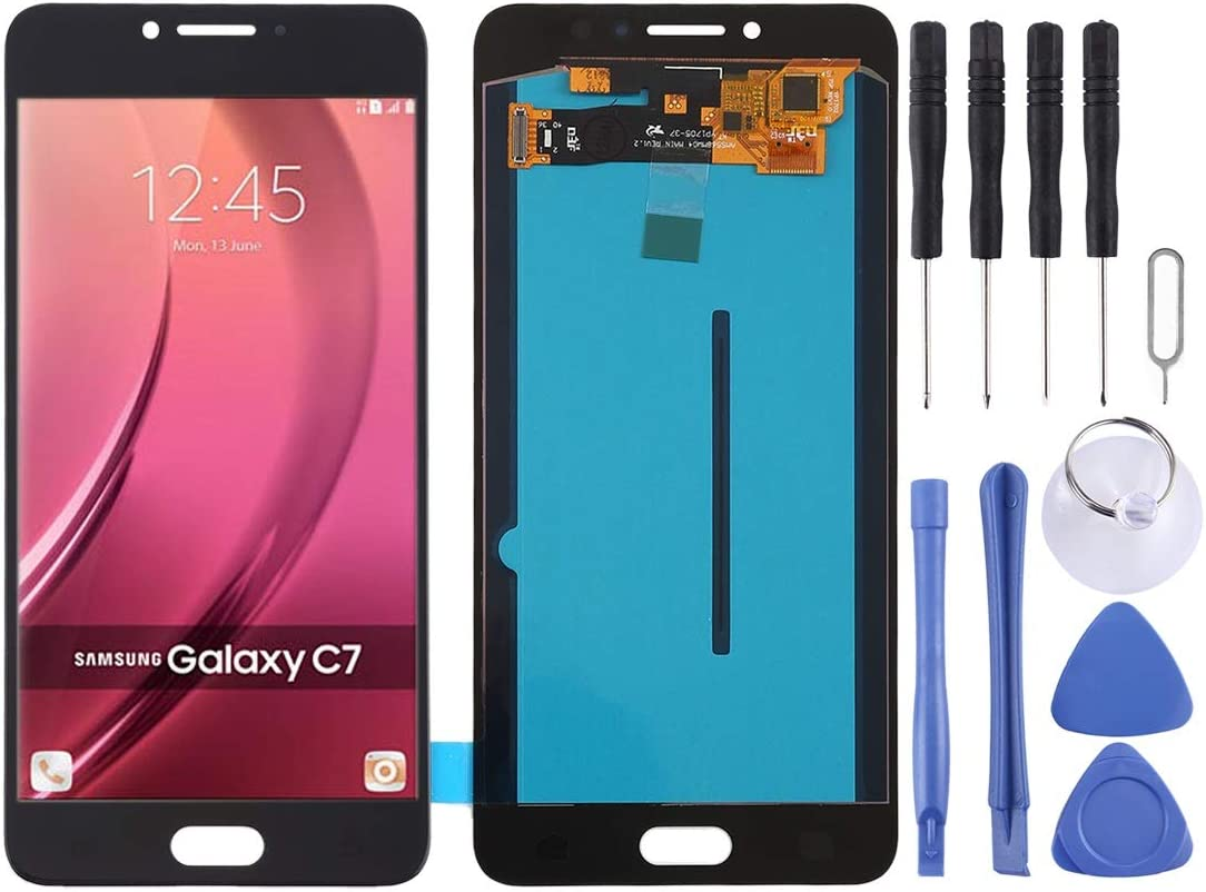 Color : Black LCD Screen Mobile Phone and Digitizer Full Assembly for Galaxy C7 Pro // C7010 Black OLED Material