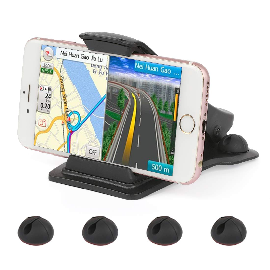 Car Phone Mount,Leelbox Phone Holder for Car Dashboard Cell Phone Holder Mount Stand with 5 Cable Clips and Strong Sticky Pads Universal for 3-6.5 inch Smartphone or GPS Devices - Black