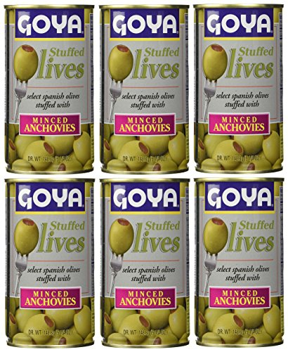 Goya Stuffed Olives Minced Anchovies 5.25 Ounces (Pack of 06) ()