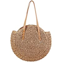 Round Women Straw Summer Beach Bag Handbag Beach Tote Woven Round Pompom Handle Shoulder Bag Crossbody Bag for Shopping, Dating, Travelling