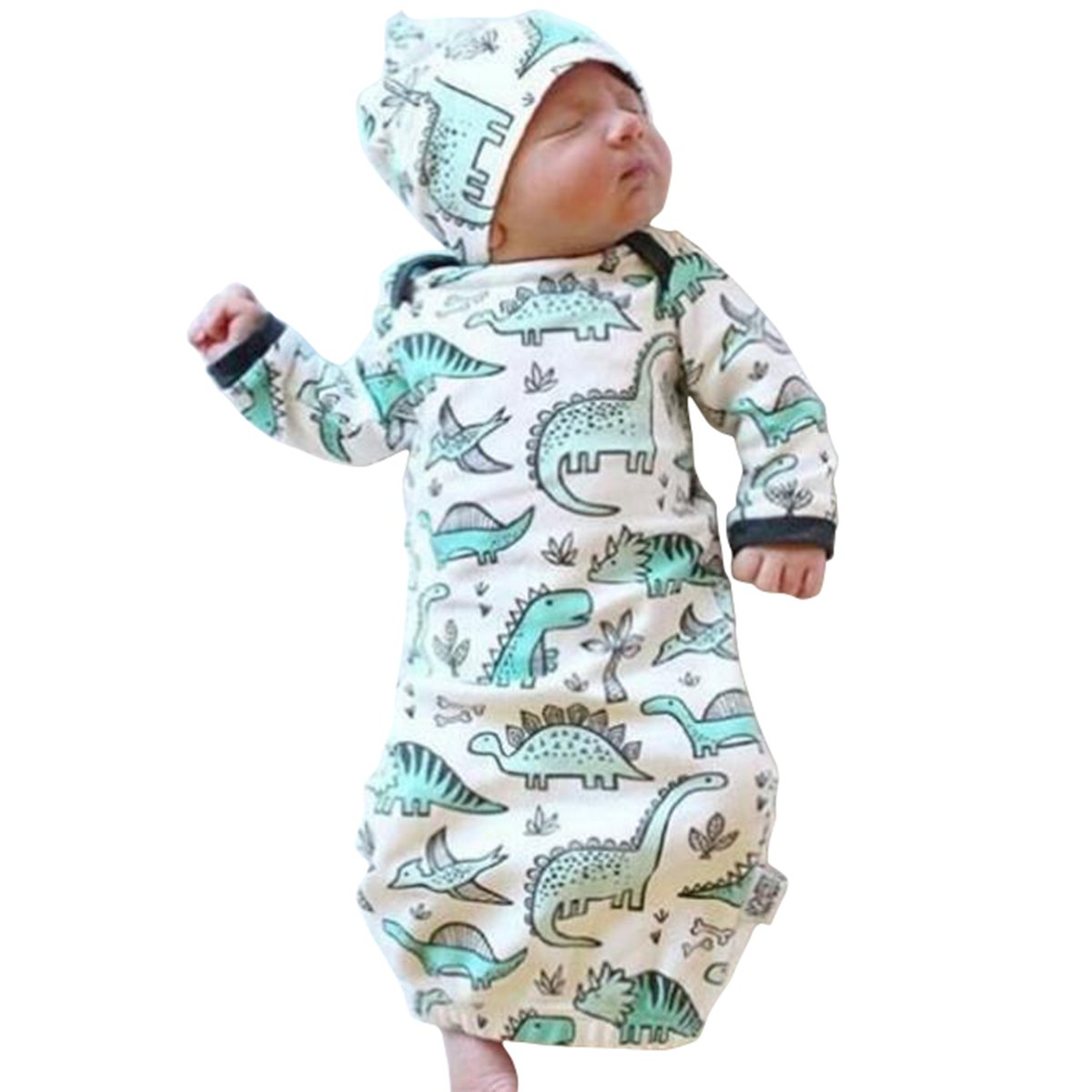 COLOOM Infant Baby Cartoon Dinosaur Pajamas Newborn Sleeper Gown Swaddle Hats 2Pcs Outfits