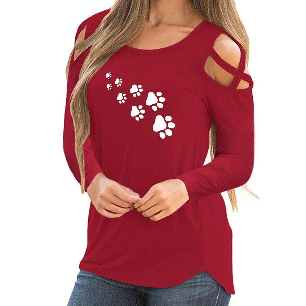 CUCUHAM Women Summer Short Sleeve Strappy Cold Shoulder T-Shirt Tops (XXL, Y2-red)