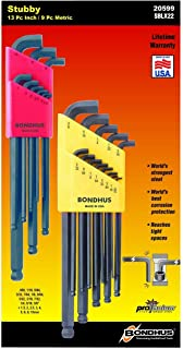 product image for Bondhus 20599 0.050-3/8-Inch and 1.5-10mm Stubby Ball End Hex Key Double Pack (2-Pack)