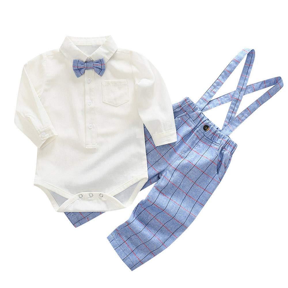 Jimmackey 2pcs Neonato Solido Pagliaccetto Bowknot Cravatta Camicia Body Tuta Cime + Plaid Bretelle Pantaloni Bambino Completo