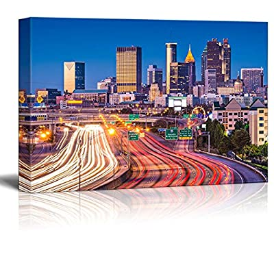 Canvas Prints Wall Art - Beautiful Evening/Night View. Traffic in Atlanta, Georgia, USA | Modern Wall Decor/Home Art Stretched Gallery Canvas Wraps Giclee Print & Ready to Hang - 24