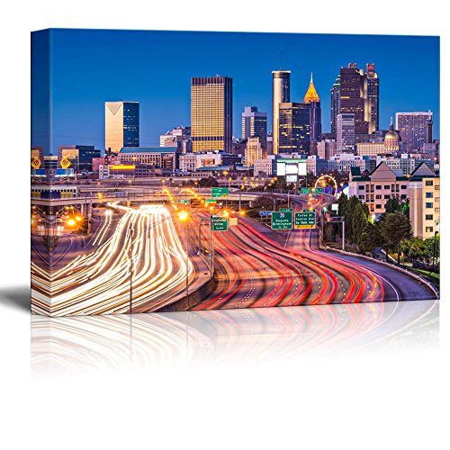 "Canvas Prints Wall Art - Beautiful Evening/Night View. Traffic in Atlanta, Georgia, USA | Modern Wall Decor/Home Decor Stretched Gallery Canvas Wraps Giclee Print & Ready to Hang - 24"" x 36"""