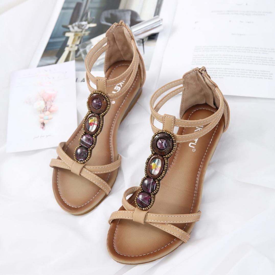 Fheaven Womens Bohemia Sandals Rhinestone Slippers Fashion Open Toe Low Heels Shoes