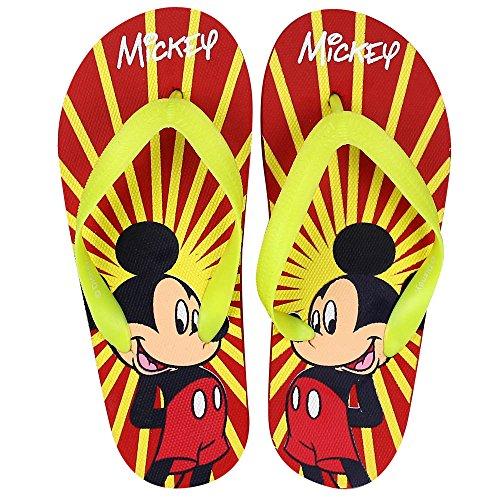 Zehentreter - Zehentrenner - Flip Flops Disney mit Modell und Größenauswahl Mickey rot/gelb