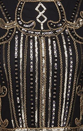 D20S013 Frange FAIRY Paillett Gatsby Noir de Style de Or Robe 1920s Flapper Embelli COUPLE xwqrUSRYwP