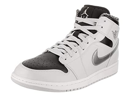 newest a76a6 714a5 Image Unavailable. Image not available for. Color  Nike Mens Air Jordan 1  Retro Mid Basketball Shoe Pure Platinum White-Metallic Silver
