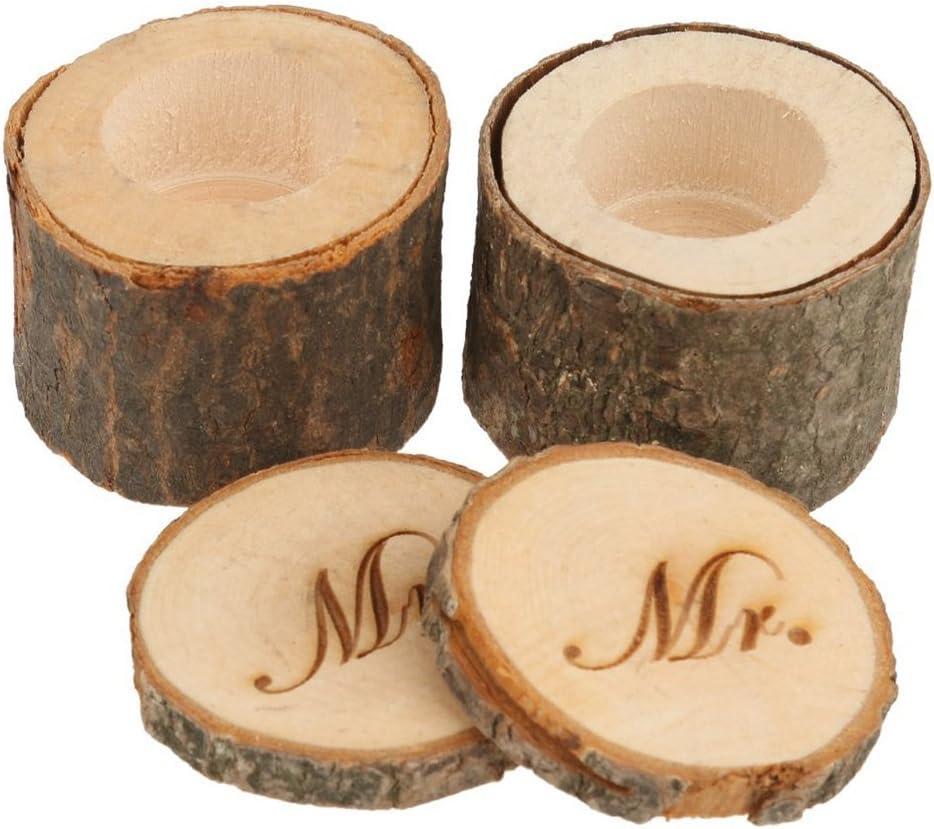 ULTNICE - Caja de anillo de madera - Alianzas de boda - «Mr», «Mrs ...