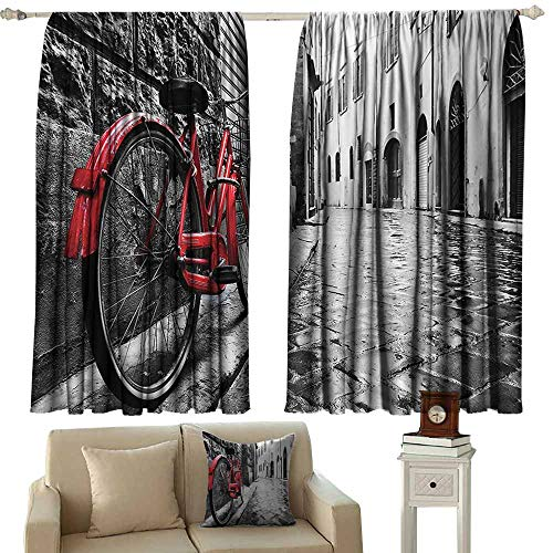 cashewii Bicycle Decor Printed Curtain Classic Bike on Cobblestone Street in Italian Town Leisure Charm Artistic Photo 70%-80% Light Shading, 2 Panels,72